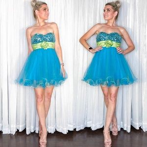 Blue Sequin Fit Flair Homecoming Dress
